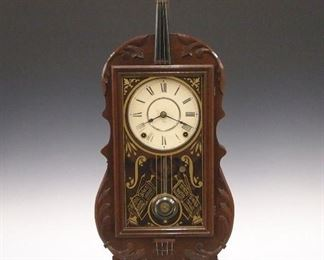 Seth Thomas style Violin clock by E. N. Harvell Asheville, NC