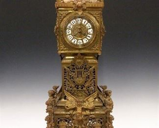 """36"""" French Bronze clock with Cherubs by Japy Freres"""