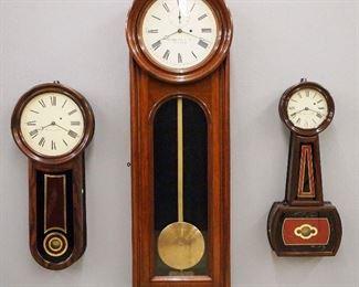 E. Howard & Co. No. 11 Keyhole, No. 13 Regulator and No. 5 Banjo wall clocks