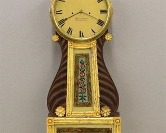 Abner Rogers, Berwick, Maine time and strike Lyre front banjo clock