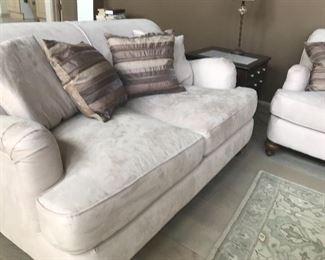 Microfiber sofa and loveseat