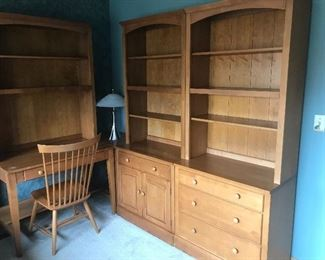 Ethan Allen chair, desk, dresser and cabinet with upper shelving