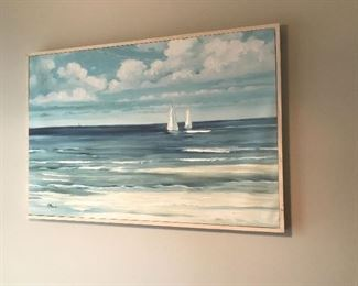 Original oil painting of boats at sea