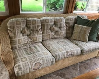 Wicker 3 seat sofa with cushions