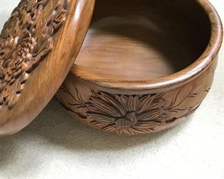 Vintage Balinese carved wooden bowl with lid