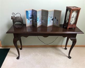 Ethan Allen Table, Japanese Clock and Screen
