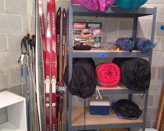 Coleman Quick Bed, Skiis and Poles, Sleeping Bags and Shelving Units