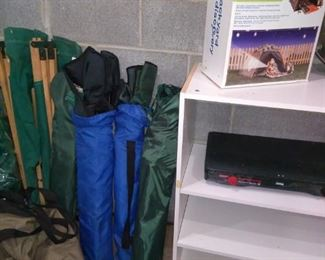 Camping gear, sleeping bags, chairs, Coleman cooktop