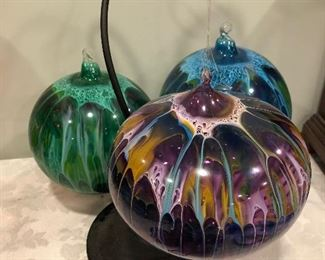 Large art glass Christmas ornaments