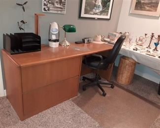 office desk with two lateral files