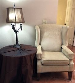 Queen Anne Chair, Side Table, Table Lamp