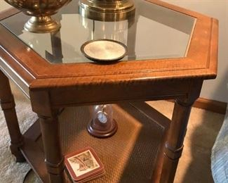 GLASS AND RATTAN TABLES (INCLUDES -RECTANGLE END TABLE, OCTAGON END TABLE AND COFFEE TABLE)