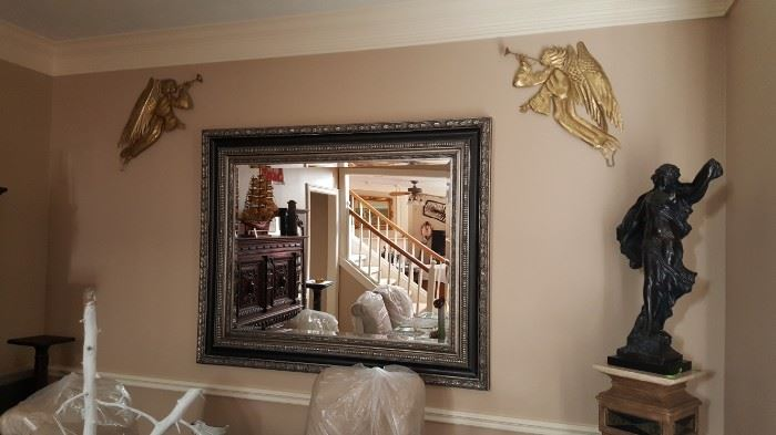 CLASSIC ITALIAN LARGE BEVELED ORNATE BLACK PLATINUM/CHAMPAGNE SILVER WITH TOUCH OF   GOLD WALL MIRROR IN EXCELLENT CONDITION