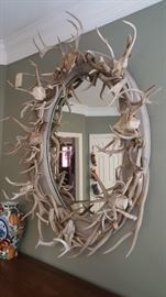 VINTAGE CUSTOM MADE AUTHENTIC ANTLER HORNS LARGE OVAL MIRROR