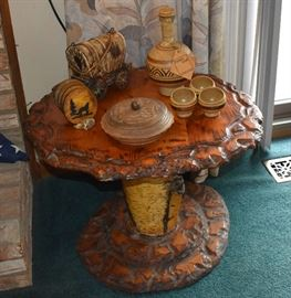 Wood Table, Decanter Cups, Carved Covered Bowl