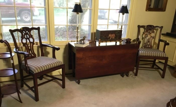 Maitland Smith Accent Chairs. Southern Cherry Drop Leaf Table. Cash and TN check accepted.