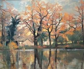 Oil on Canvas by Andre Vignoles. Titled Pond at Chenes. Cash and TN check accepted.