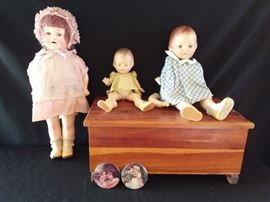 Vintage Dolls and Doll Box