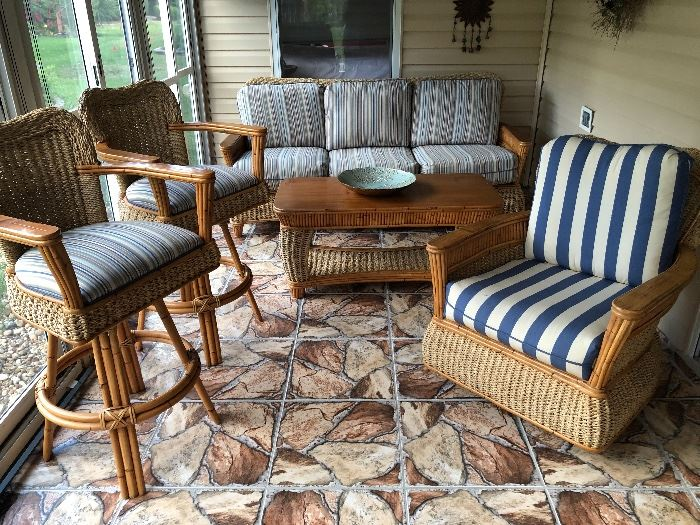 "Gorgeous woven jute & bamboo w/blue stripe cushions lanai set 	Including: (10% discount on entire set purchase) 	3-cushion sofa (76""W 32""D 36-1/2""H) - $460 	Rectangular coffee table (45""W 22-1/2""D 20-1/2""H) - $140 	Swivel rocker - (31""W 35""H 31""D) - $160 	Chair w/ottoman - (Chair 26""W 29""D 34-1/2""H) - $195 	Side table (23W 20-1/2""D 24-1/2""H) - $76 	Bar with 2 stools (Bar 52""W 26""D 42-1/2""H) - $895"