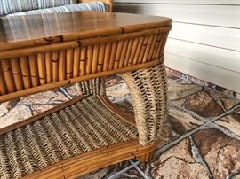 "Gorgeous woven jute & bamboo w/blue stripe cushions lanai set Including: (10% discount on entire set purchase) 3-cushion sofa (76""W 32""D 36-1/2""H) - $460 Rectangular coffee table (45""W 22-1/2""D 20-1/2""H) - $140 Swivel rocker - (31""W 35""H 31""D) - $160 Chair w/ottoman - (Chair 26""W 29""D 34-1/2""H) - $195 Side table (23W 20-1/2""D 24-1/2""H) - $76 Bar with 2 stools (Bar 52""W 26""D 42-1/2""H) - $895"