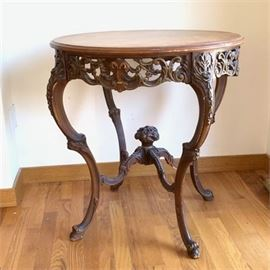 Lot 044  Antique Carved 1920 Walnut Hall Table