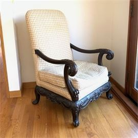 Lot 107  Antique George II Style Carved Arm Chair