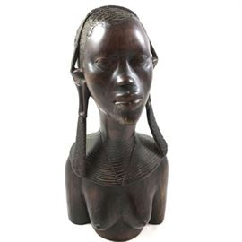Lot 157  Carved African Tribal Art Woman Bust