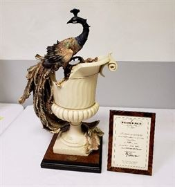 """Giuseppe Armani """"Vase with Peacock"""" #735 - Limited Edition 1139/3000 - includes framed Certificate of Authenticity"""