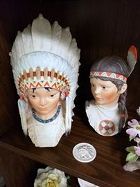 """Cybis """"Little Eagle / Indian Boy Head"""" and """"Running Deer / Indian Girl Head"""", """"Comanche Chief Medallion"""" - Cybis Collector's Society member piece"""