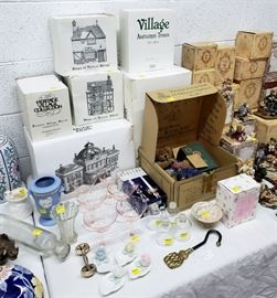 Department 56 buildings, vintage glassware, Boyds Bears, and more!