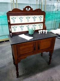 Antique tiled wash stand