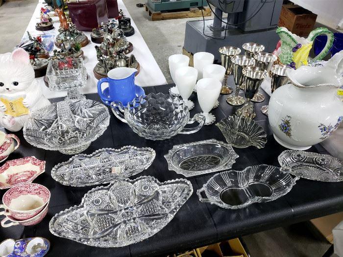Beautiful cut glass, silverplate goblets, vintage pitchers
