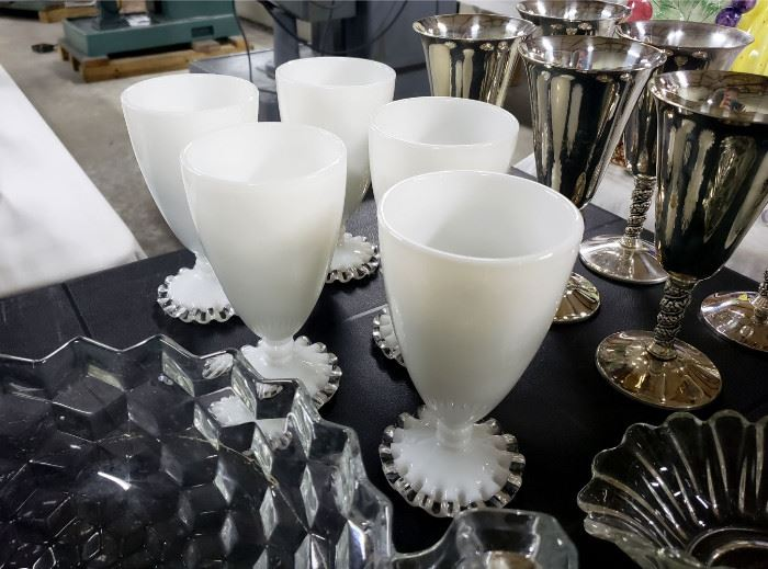 """Fenton """"Silver Crest"""" footed tumblers"""