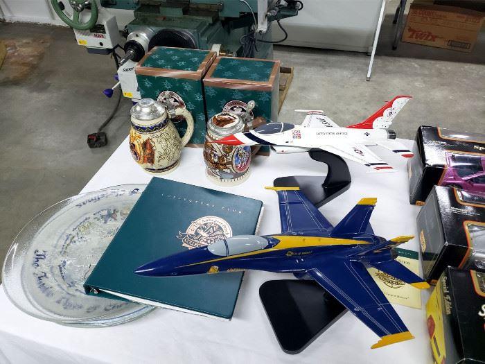 Fighter jet models, Anheuser-Busch beer steins