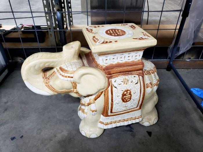 Ceramic elephant stool / table