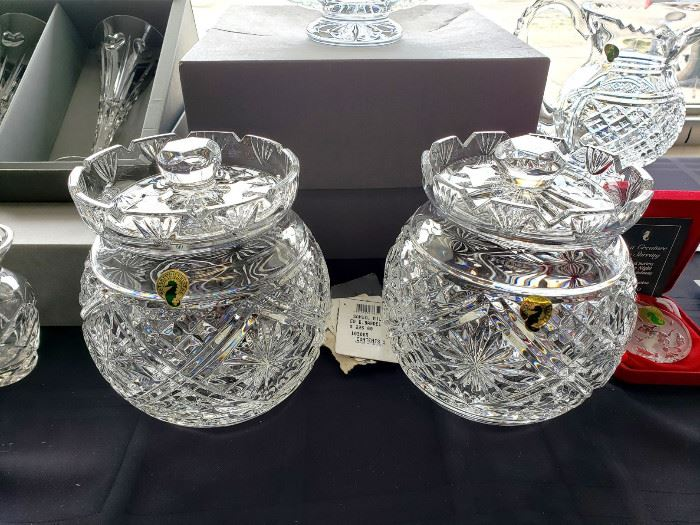 """1999 Waterford Society """"Samuel Miller"""" biscuit barrels - signed by Jim O'Leary (2 of these)"""