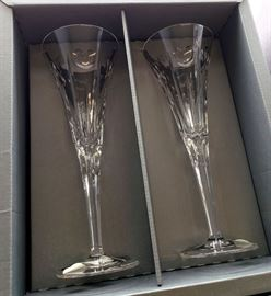 """Waterford """"Love"""" toasting flutes in original box - signed by John Coughlan"""
