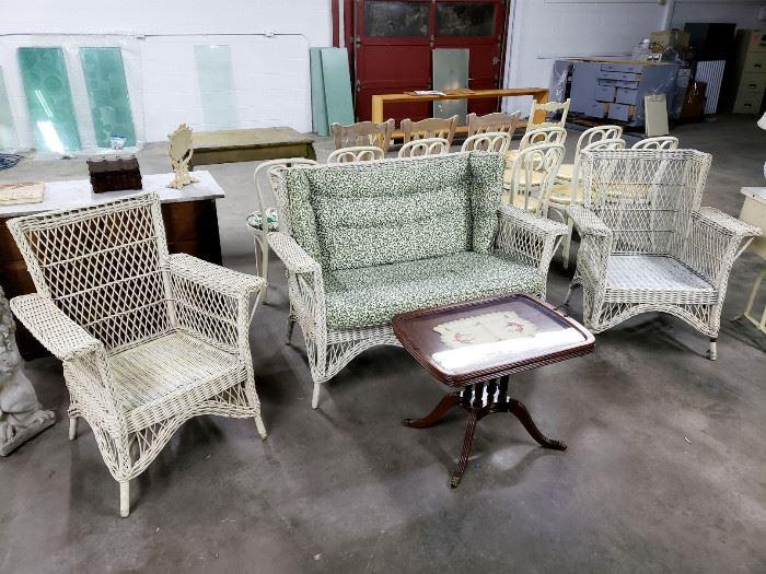 Vintage wicker loveseat, armchairs