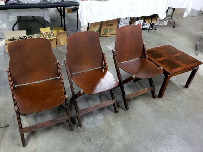 1940's U.S. American Seating Company folding chairs, end table