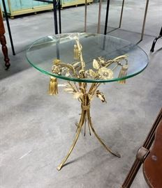Small vintage glass-top tole table