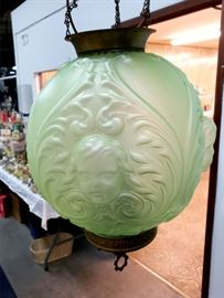 Antique hanging light with glass shade
