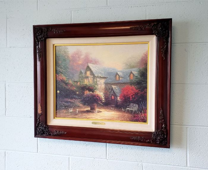"""Thomas Kinkade """"Blessings of the Season II - Blessings of Spring"""" signed limited edition framed print (frame has some damage)"""