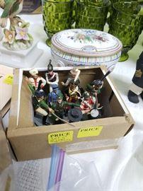 Box of vintage lead soldiers