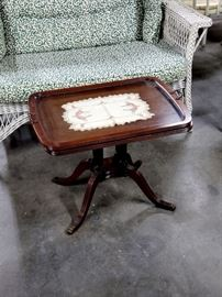 Small vintage table with glass-top tray