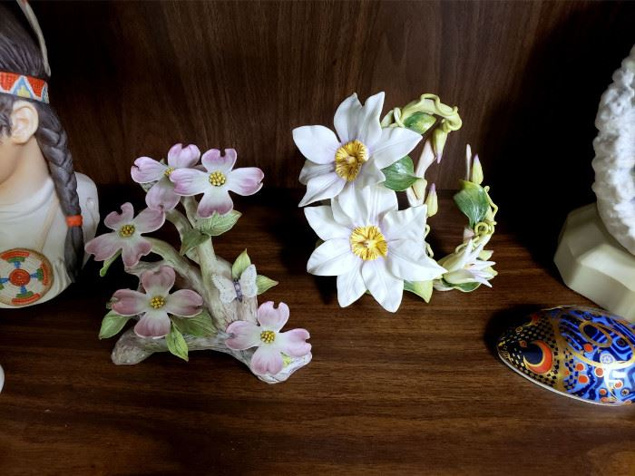 """Cybis """"Clematis"""" and """"Pink Dogwood with Nest and Butterfly"""""""
