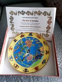 """Treasures of the Chinese Mandarins """"The Bird of Paradise"""" cloisonné plate - limited edition 2330/2500"""