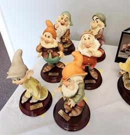Giuseppe Armani - 6 of the Dwarfs from Disney's Snow White - Doc, Dopey, Grumpy, Happy, Sleepy, Sneezy. All hand signed by Giuseppe Armani