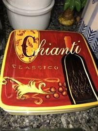 """PIER 1 CUCINA 11""""SQUARE PLATES CHIANTI CLASSICO"""