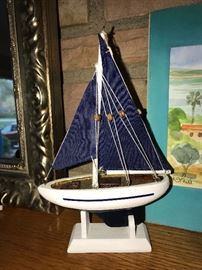 WOODEN BOAT MODEL WITH CLOTH SAILS FULLY ASSEMBLED