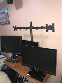 DUAL MONITOR STAND, ADJUSTABLE TWO ARM